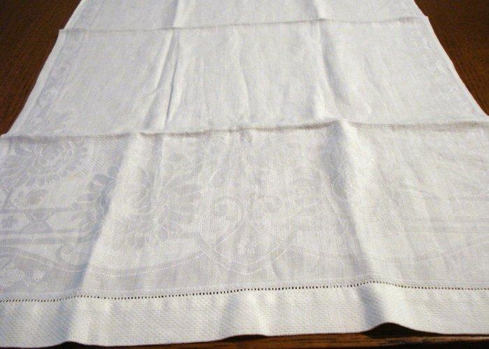 Antique huck and jacquard linen towel threadwork hem white hc2494
