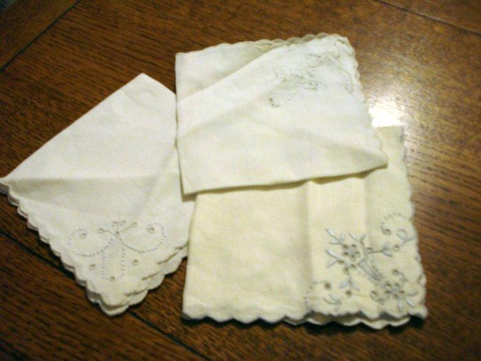 3 Antique odd linen napkins scalloped edges whitework eyelets bluework embroidery  10 inches hc2499