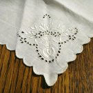 3 Antique odd linen napkins monogram W scalloped edges whitework eyelets embroidery butterfly hc2500