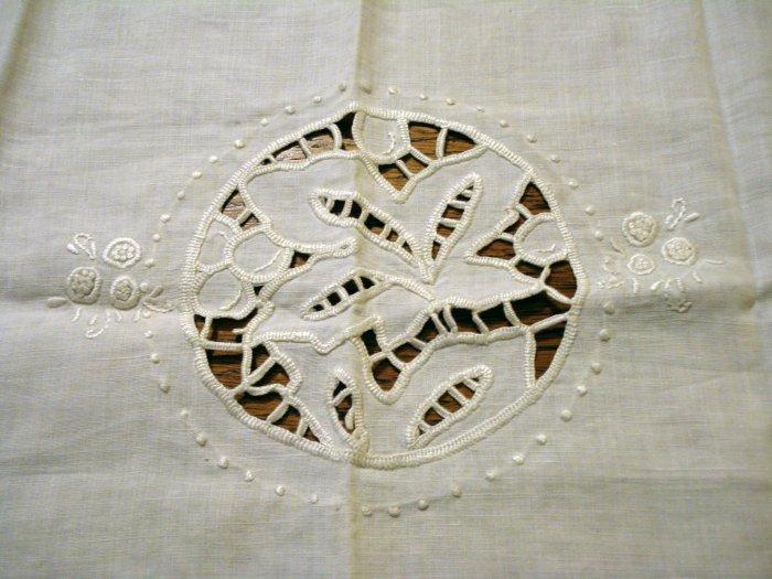 Antique linen table mat tray liner openwork embroidery crochet edge ecru hc2501