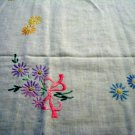 Depression era embroidered tablecloth cotton crochet edge vintage hc2503