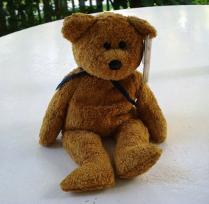Fuzz the caramel colored bear Ty Beanie Baby toy retired mint hc2508