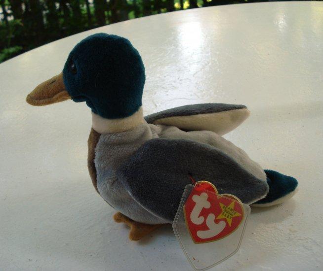 Jake the drake mallard duck Ty Beanie Baby toy retired mint hc2521