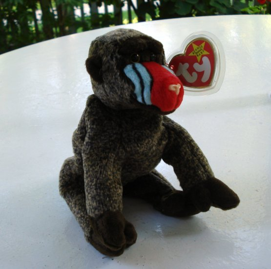 Cheeks the baboon  Ty Beanie Baby toy retired mint hc2523