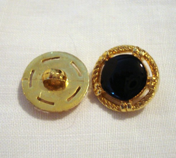 4 Black and gold small buttons vintage for sewing crafts jewelry hc2531