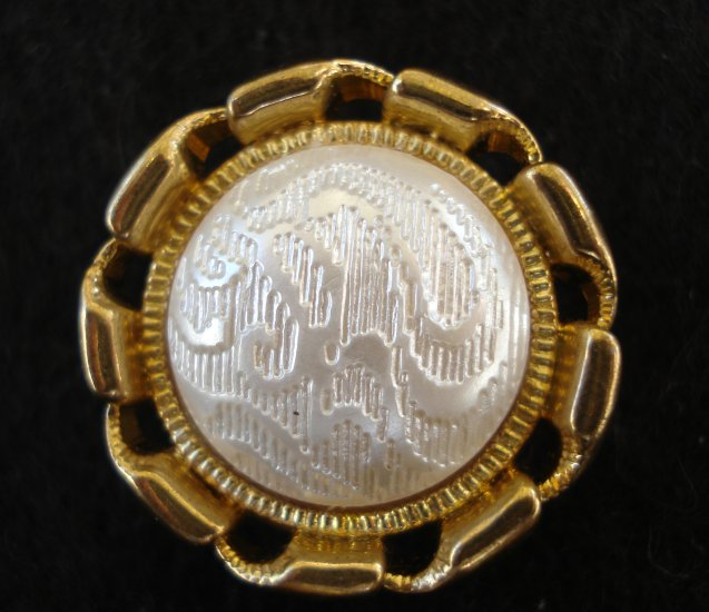 5 Matching goldtone and faux carved pearl button covers vintage for sewing crafts jewelry hc2551