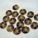 16 plastic sew through buttons marbled brown preowned 4 hole sewing crafts  hc2564