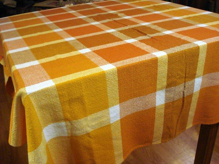 Finlayson Finland woven cotton viscose tablecloth 64 inches rust tones excellent vintage hc2589