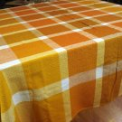 Finlayson Finland woven cotton viscose tablecloth 64 inches rust tones excellent vintage hc2589