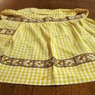 Vintage gingham hostess half apron unique embroidery gold white hc2594