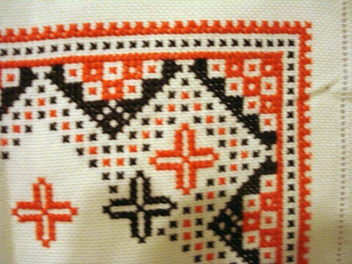 Embroidered Aida cloth Scandinavian cross stitch orange brown threadwork hem hc2615