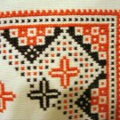 Embroidered Aida cloth Scandinavian cross stitch orange brown threadwork hem hc2615