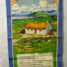 Irish crofter cottage and poem tea towel cotton linen unused hc2616