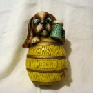 Carnival chalkware puppy in beer keg money bank vintage hc2619