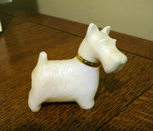 Avon Westie or Scottie dog perfume bottle white used hc2623