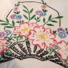 Lavishly embroidered cotton tablecloth 58 inches long vintage hc2692
