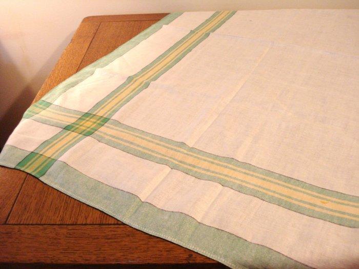 Classic vintage linen tablecloth striped border cutter vintage hc2711