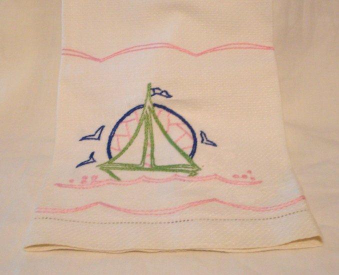 Embroidered sailboat on huck towel threadwork hems vintage hc2729