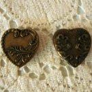 Art Nouveau style heart shaped button covers 2 non-matching bronze tone vintage hc2781