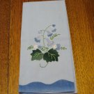 Applique embroidery bell flowers on blue hand or guest towel cotton excellent vintage hc2809