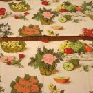 Fruit and flowers kitchen window valance 2 pc 68 inches excellent 1940s barkcloth vintage hc2816