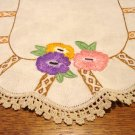 Art Deco Hand embroidered crocheted lace oval table mat linen flax hc2824