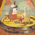 Burgundy wine, ham, candle on linen tea kitchen towel vintage hc2827
