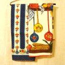 Pair coordinated cotton tea kitchen towels utensils stripes red blue vintage hc2826