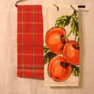 Pair coordinated cotton linen tea kitchen towels fruit plaid vintage hc2834
