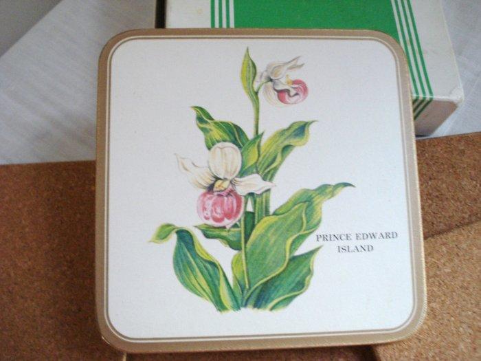Pimpernel Fayreings drink coasters 6 boxed cork backs Lady Slipper PEI vintage hc2886