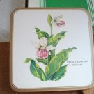 Pimpernel Fayreings drink coasters 6 boxed cork backs Lady Slipper PEI vintage hc2886