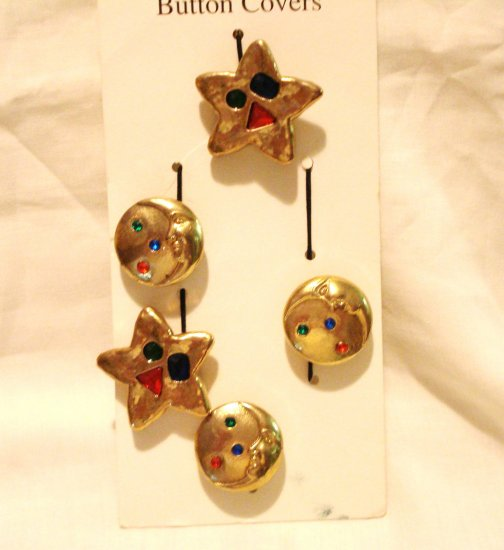 Celestial gold tone button covers set of 5 on card 1980s vintage party perfect hc2888