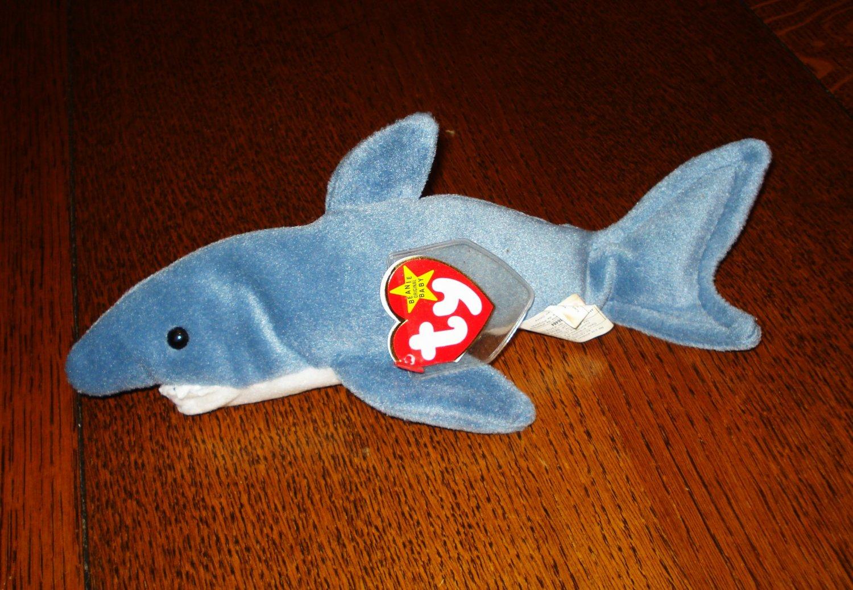 Crunch the shark 1996 Ty Beanie Baby toy retired mint hc2895
