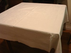 Art Deco cotton jacquard tablecloth white superior vintage 60 inches hc2934