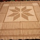 Cross stitch brown white gingham tablecloth flower pattern vintage hc2944