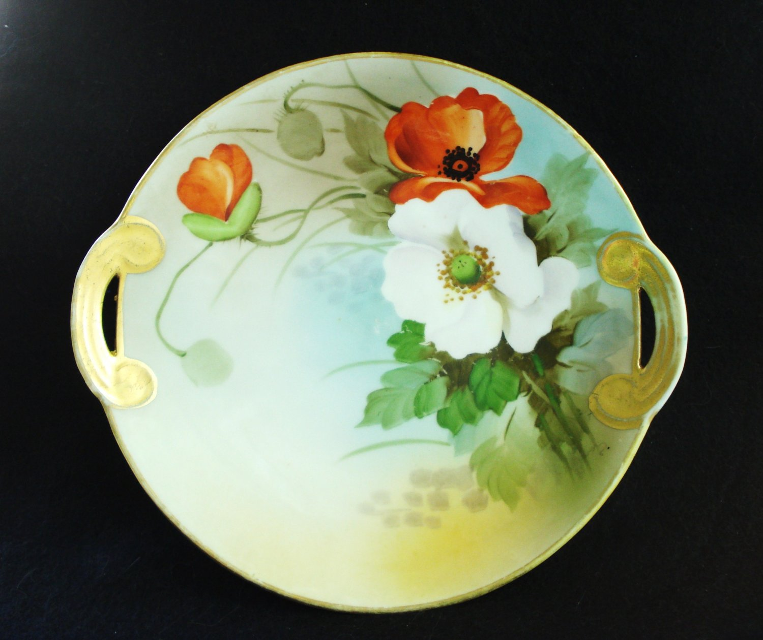Lost 4-13-16 Nippon Morimura anemone porcelain plate with handles antique hc2953