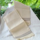 Pair embroidered cream huck hand towels Scandinavian style vintage linen hc2962