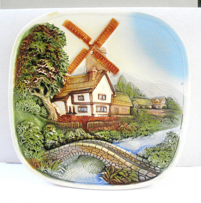 Legend wall plaque thatched cottage windmill foot bridge England vintage hc2981