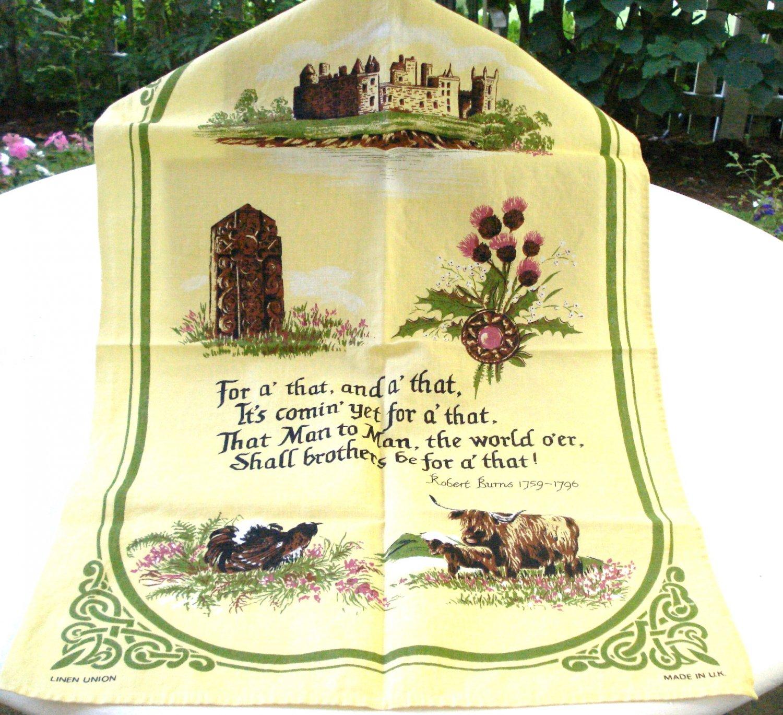 Robert Burns For a' that man to man shall be saying tea towel vintage hc2986
