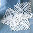 3 Identical square doilies hand crocheted white unusual stitches vintage hc2990