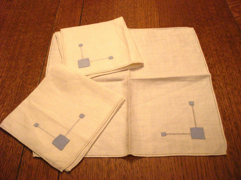 3 Linen luncheon napkins blue applique threadwork Art Deco vintage hc2998