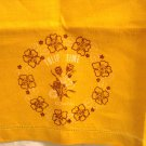 Tulip Time in Bowral embroidery stamped linen towel orange threadwork hem unused vintage hc3006