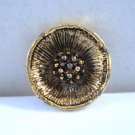 3 Gold tone metal buttons open flowers dogwood self shank 2cm vintage hc3019
