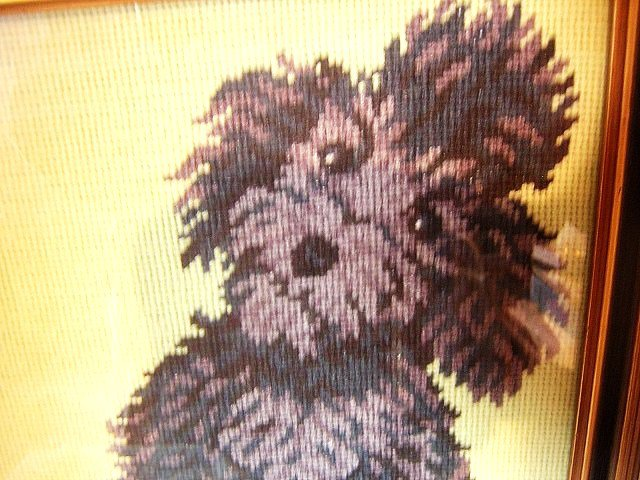 Framed needlepoint picture of black poodle too lovable AL1033