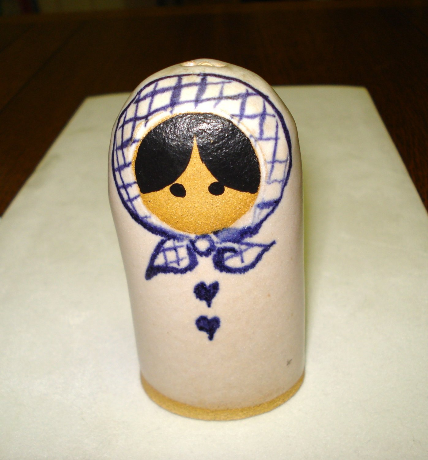 Little girl in babushka ceramic bell hand made hand painted hc3254
