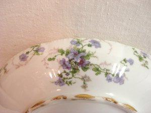 Limoges Havilland porcelain serving dish Ch. Field purple flowers gold excellent France hc3257