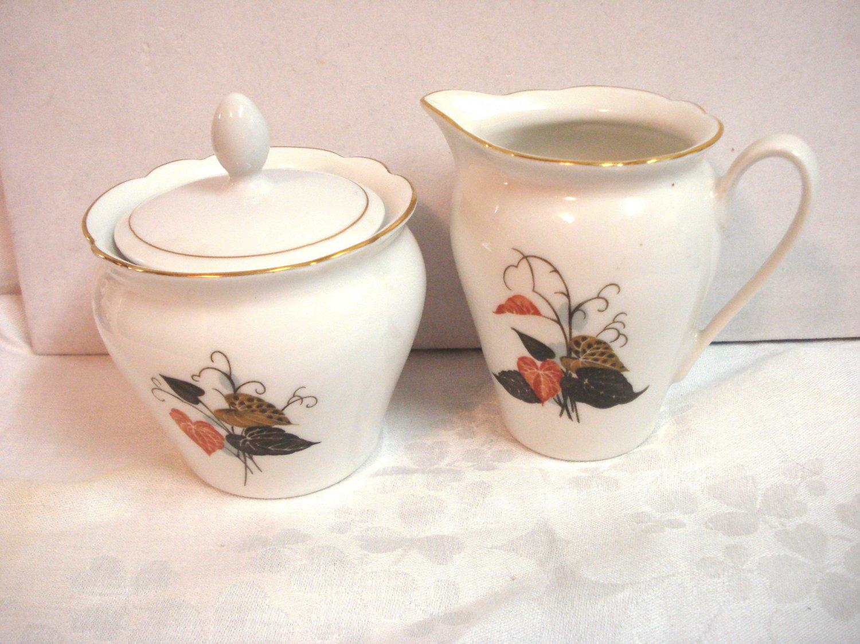Kahla porcelain creamer and sugar bowl leaf motif GDR perfect vintage hc3268