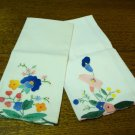 Appliqued embroidered cotton hand guest towels flowers excellent vintage hc3290