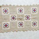 Handmade crochet and cross stitch granny squares table place mats excellent vintage hc3291