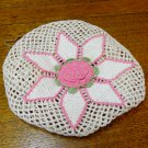 Crocheted hand laundry bag pink rose drawstring vintage hc3311
